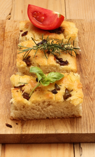 Focaccia with Rosemary, Olives and Garlic