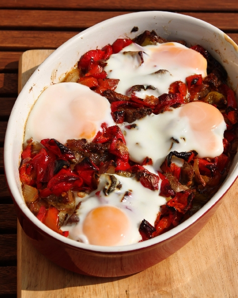 Roasted Pork Neck with Vegetables  and Eggs.